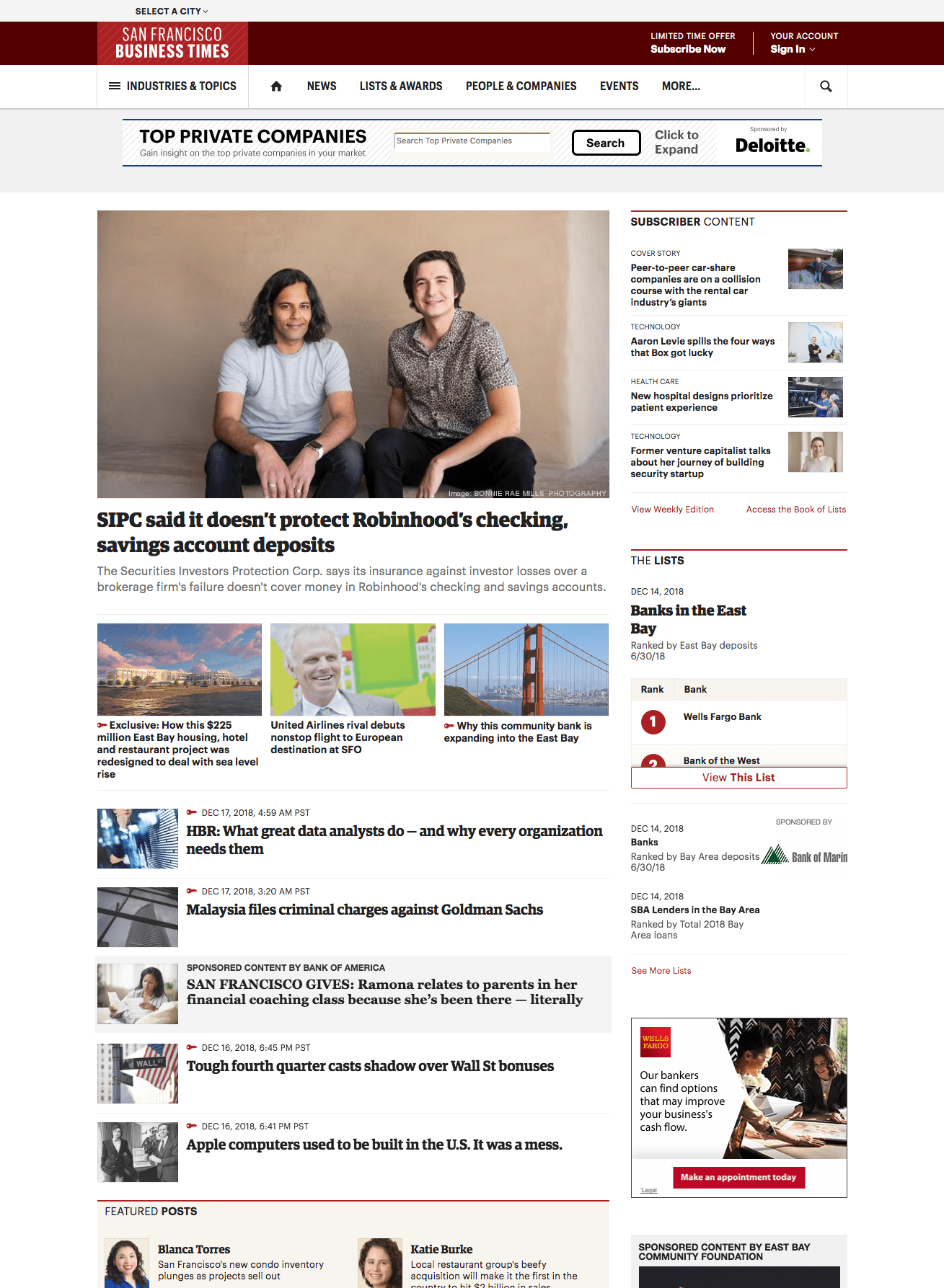 Previous San Francisco Business Times homepage