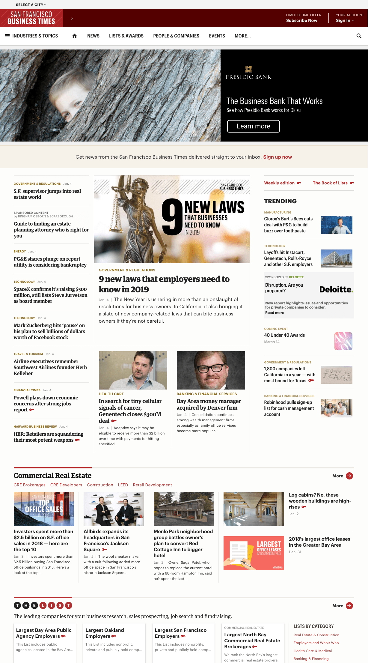 Redesigned San Francisco Business Times homepage
